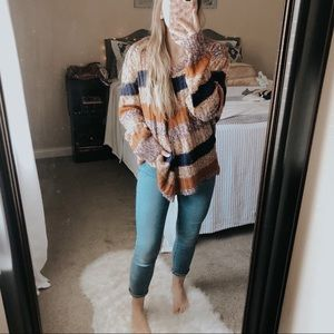 NWOT Derek Heart Striped Knit Pullover